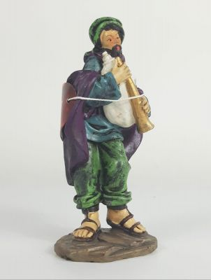 Pastore con zampogna statuina per presepe da 13 cm