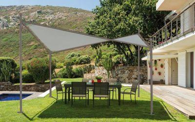 Gazebo ''Vela'' di alta qualità in ferro 4 x 4 m verniciato colore tortora arredo giardino