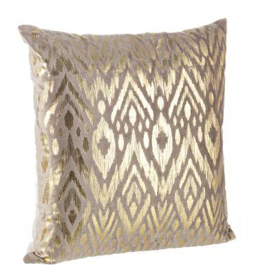 Cuscino Velvet design beige e oro 45x45cm sfoderabile arredo casa Bizzotto