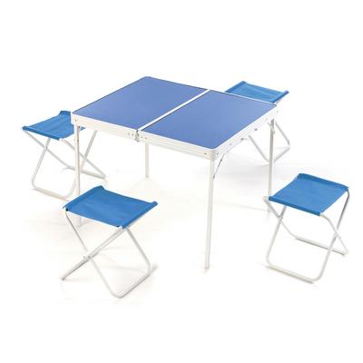 Tavolo chiudibile a valigetta con 4 sgabelli per spiaggia e campeggio cm 85 X 70 X h 66 cm