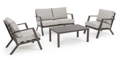 Bizzotto Set salottino Harley per giardino divano poltrone e tavolino arredamento da esterno 4 pezzi
