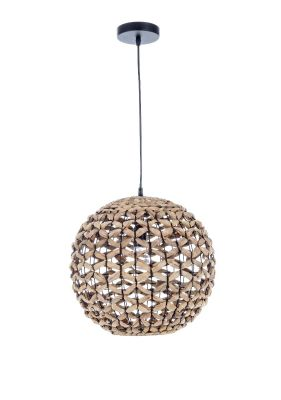 Lampadario Kenya tondo diametro 40cm nero e rattan lampadario da interno per arredo casa