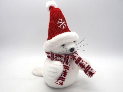 Foca bianca floccata in polistirolo con cappello e sciarpa rossa h 27 cm decorazioni natalizie