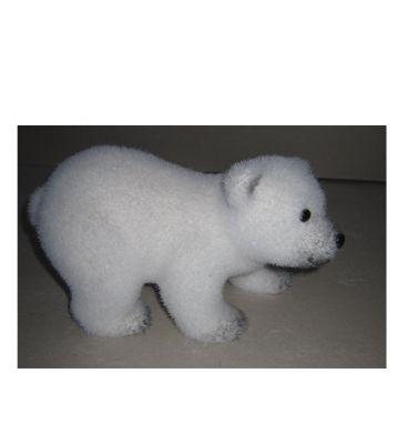 Orso polare bianco a 4 zampe effetto ghiaccio in polistirolo H13