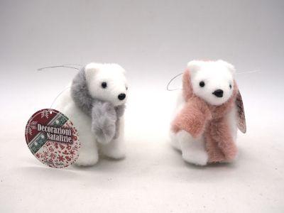 Orso floccato bianco seduto con sciarpa in polistirolo decorazioni natalizie