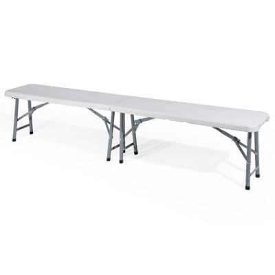 Panchina panca sedile in plastica pieghevole con struttura in acciaio verniciato 180 cm bianco