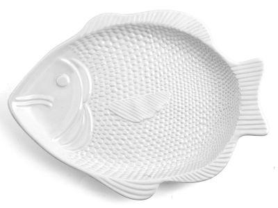Home Piatto Pesce 42x32x3 cm Ceramica Bianco