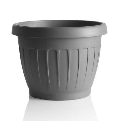 """Bama vaso da giardino tondo """"TERRA"""" in plastica 30 cm grigio"""