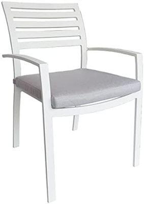 Sedia poltrona da giardino in alluminio con braccioli e cuscino bianca 65x57x86cmarredo esterno