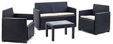 Set salotto da giardino Silvia in resina effetto rattan antracite 4 pezzi con divano poltrone e tavolino arredo esterno