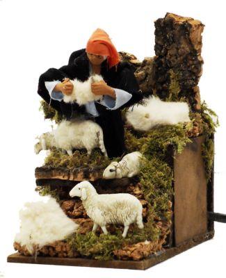 pastore tosatore in movimento ambientazione per presepe 14x9 cm