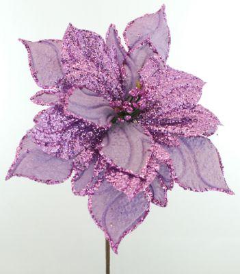Stella di Natale 20CM Viola glitterata spillone