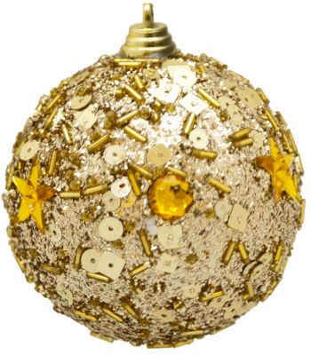 set 3 sfere o palline di Natale colore oro dorate 8cm decorate