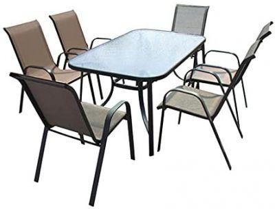 Set tavolo e sedie con braccioli da giardino struttura in acciaio piano in vetro