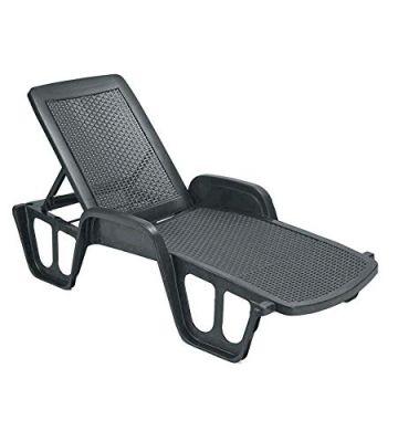 Lettino sdraio Pool schienale regolabile Rattan nero resina plastica 192x71x100h
