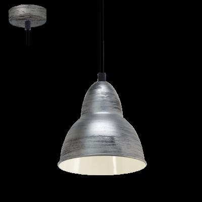 EGLO LAMPADA A SOSPENSIONE IN ACCIAIO NERO ARGENTATO 15,5X110cm