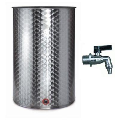 Botte contenitore fusto bidone per olio o vino da 300 LT (RUBINETTO OMAGGIO) acciaio inox 18/10