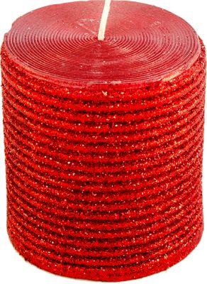 candela rossa brillantinata 7 cm x 7,5 cm