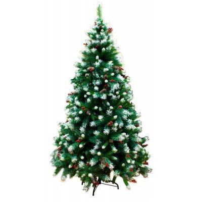 Albero di Natale Canada 240 cm con Pigne, Bacche e Neve semi addobbato