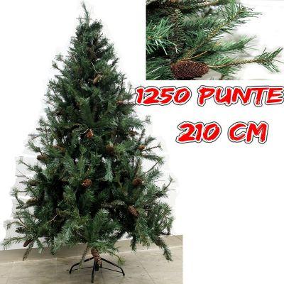 Albero di natale 210 cm pino Amazzonia verde folto con pigne   realistico