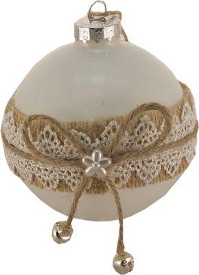 sfera 8cm in vetro bianca lucido con juta merlettato e fiocco