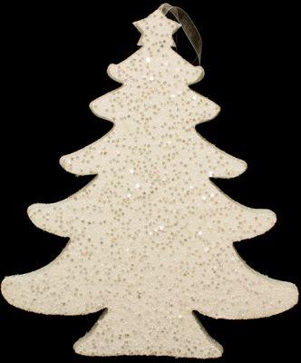 appendino albero di natale bianco glitterato 30 cm in polistirolo