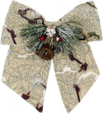 fiocco innevato grande con pigne bacche e campana 25cm decorazioni natalizie