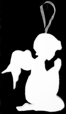 angelo in ginocchio bianco 25 cm appendino