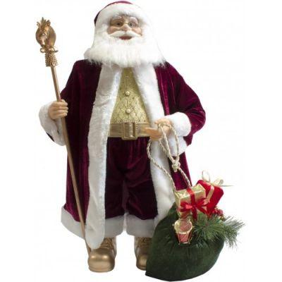 Babbo Natale con Musica e Movimento 60 cm con Bastone e Sacco Doni