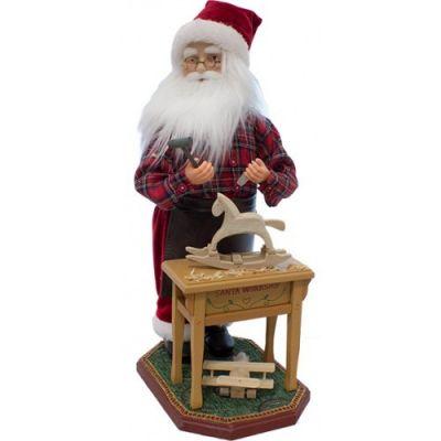 Babbo Natale con Musica e Movimento 45 cm Con Banchetto da Lavoro