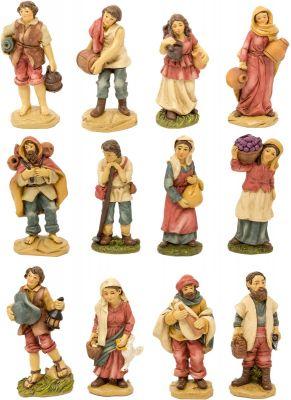 12 pastori semplici assortiti 9 cm in resina