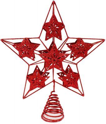 puntale in metallo a forma di stelle 30 cm rosso glitterato con 6 stelle