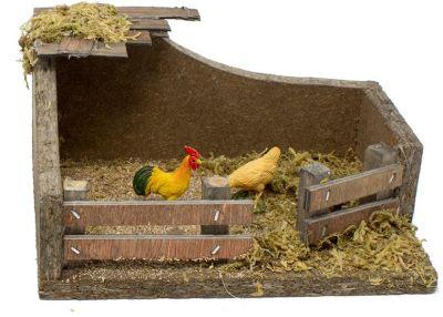 pollaio per presepe con gallo 15 cm accessori per presepe