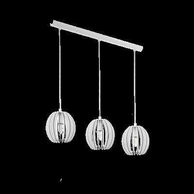 EGLO LAMPADA A SOSPENSIONE IN ACCIAIO E LEGNO BIANCO  19X130 cm