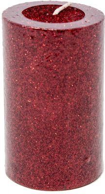 candela o moccola 7,5 cm colore rosso glitterata