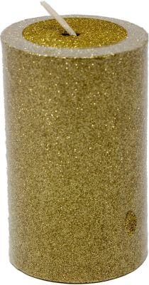 candela o moccola colore oro glitterata 8 cm