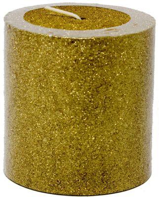 candela glitterata colore oro 7x7 cm