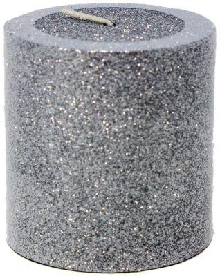 candela o moccola colore argento glitterata 7 cm