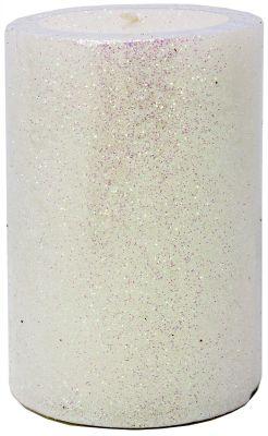candela perla e viola glitterata 7 x 10 cm