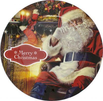 Vassoio tondo in plastica con decorazione natalizia 40CM