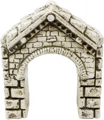 arco bianco con tegole in gesso per presepe accessori 12x14x5 cm