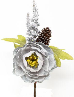 Peonia Rosa argento con pigne e foglie gialle spillone 25 cm