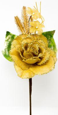 rosa colore oro in juta con spighe e fiorellini dorato 35cm