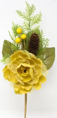 peonia artificiale 50cm colore oro con pigne e bacche dorate 50cm