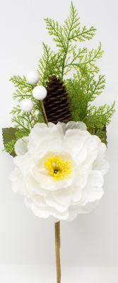 peonia bianca artificiale con sfumature gialle pigna e bacche 50 cm