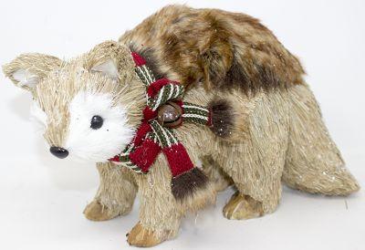 orso di paglia pupazzo 23cmx10x13 con pelliccia e fiocco in tessuto