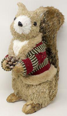 scoiattolo 25 cm con giacca in tessuto coda in pelliccia e pigna