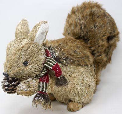scoiattolo 19x9x15cm con sciarpa pigna e coda in pelliccia