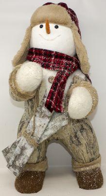 pupazzo di neve di legno con berretto e sci 45 cm