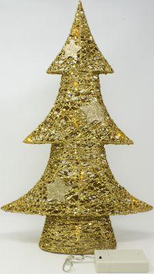 Piccolo albero alberello di Natale elegante 43 cm glitterato dorato con stelle 10 luci a led batteria